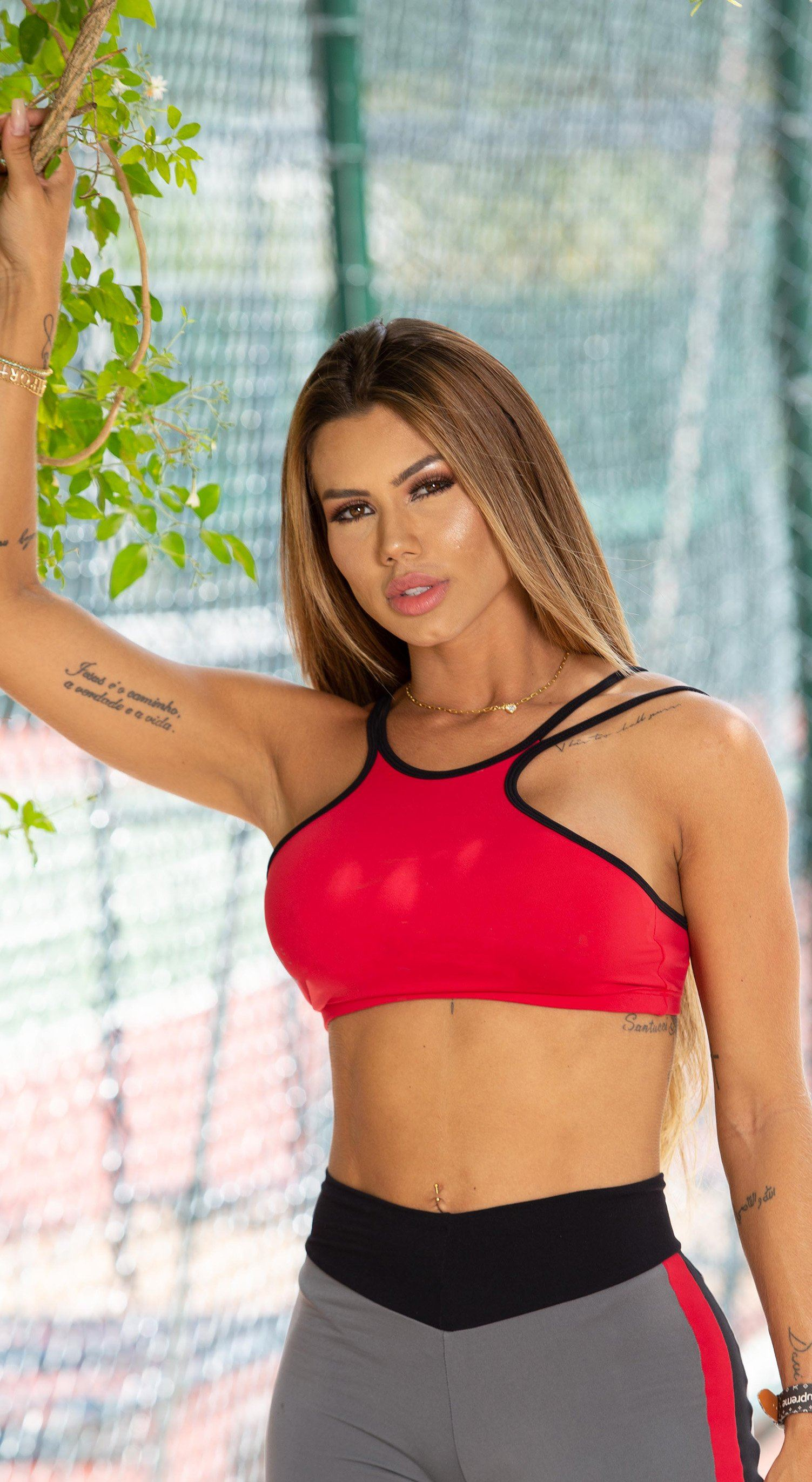 Brazilian Sports Bra - Agile Red & Black