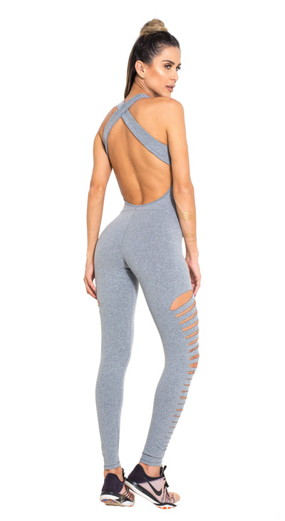 Brazilian Workout Jumpsuit  - Ripped Heroine Gray