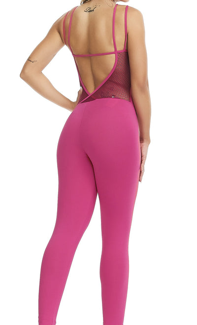 Brazilian Workout Jumpsuit - Strappy Aqua Hot Pink H2O Friendly