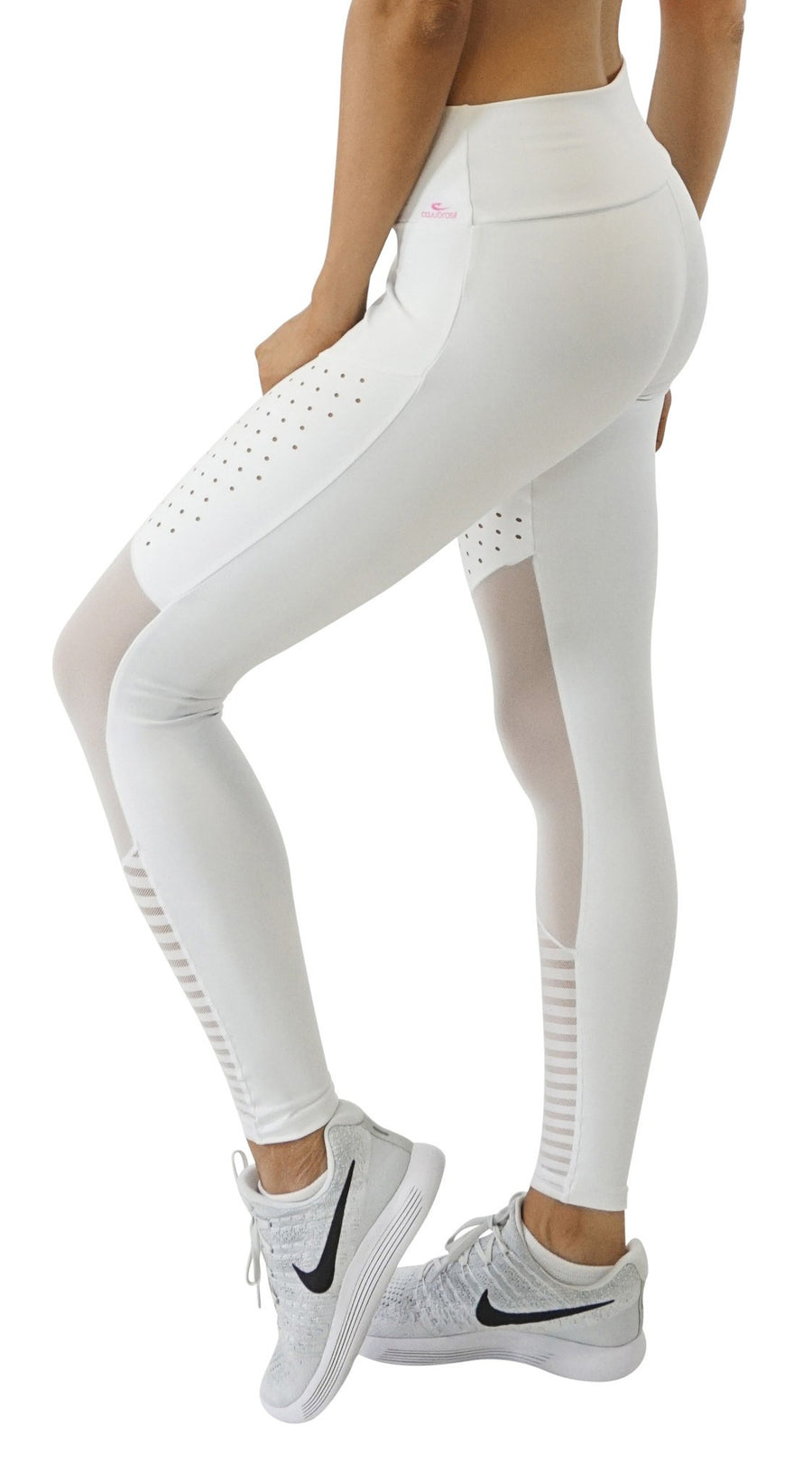Active Yoga Pants  - Laser Mesh Premium White