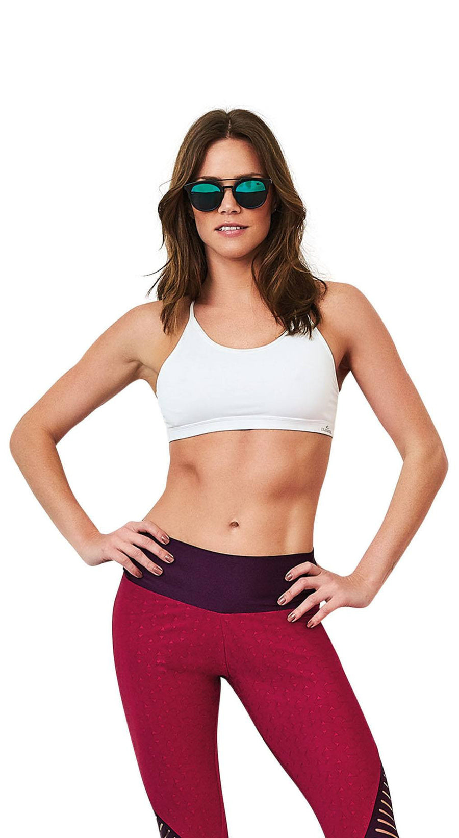 Active Sports Bra  - Crisscrossing Top White