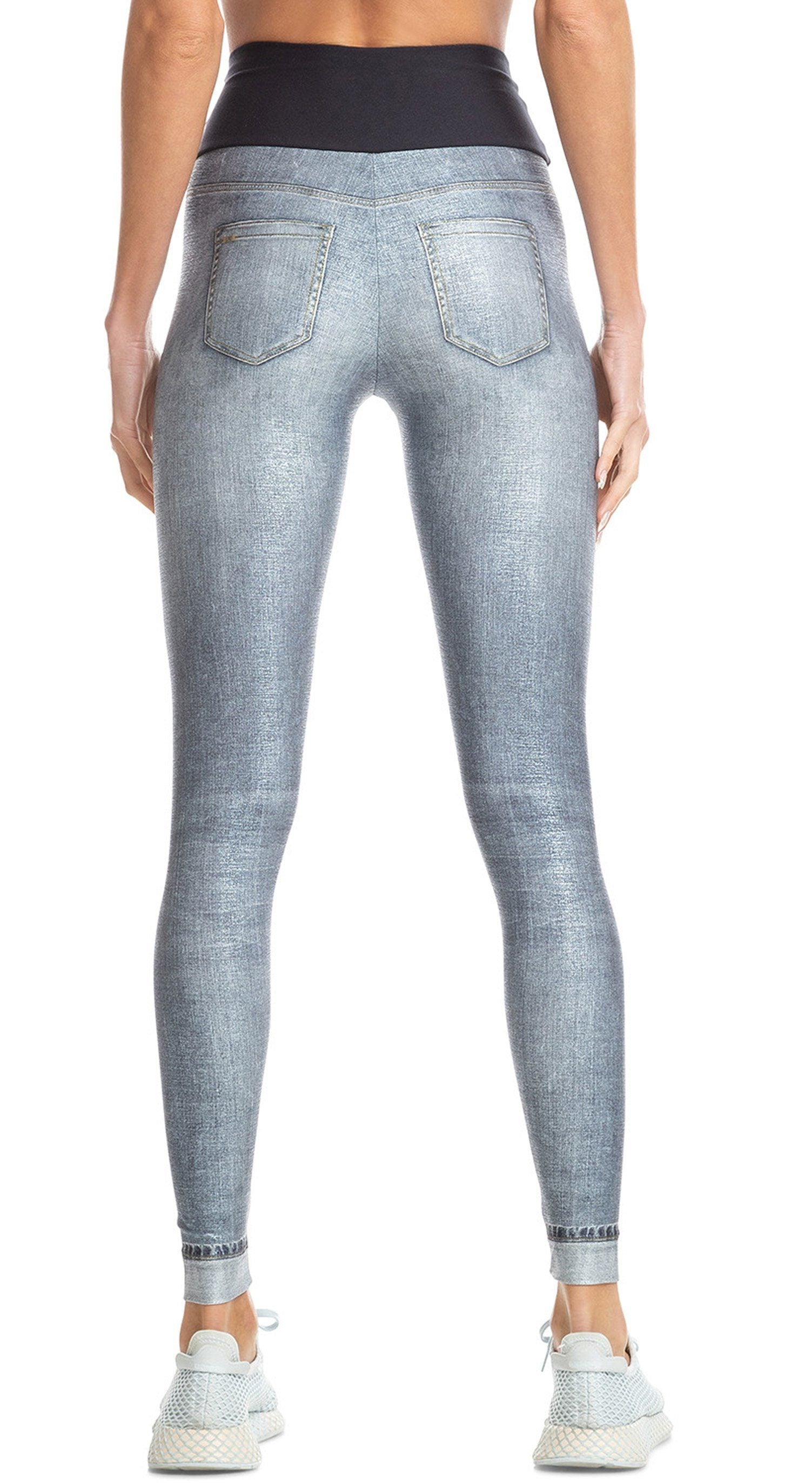 Brazilian Fake Jeans Legging - Mareled Jeans Legging