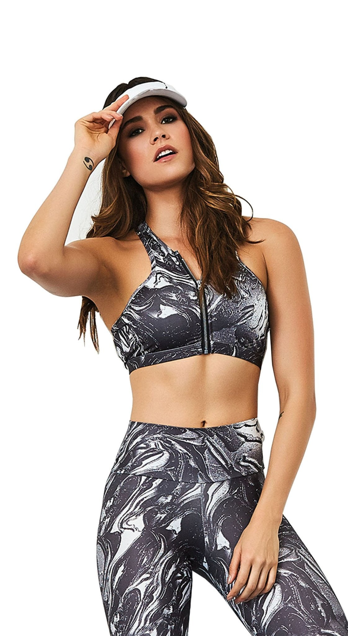 Active Sports Bra - Top Zipper Water Print
