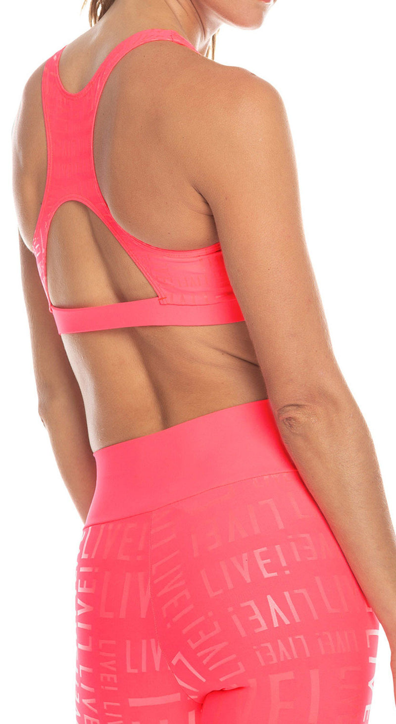 Sports Bra - Live! Essential Top Neon Pink