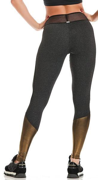 Active Legging -  Sand Effect Metallic Golden Brown