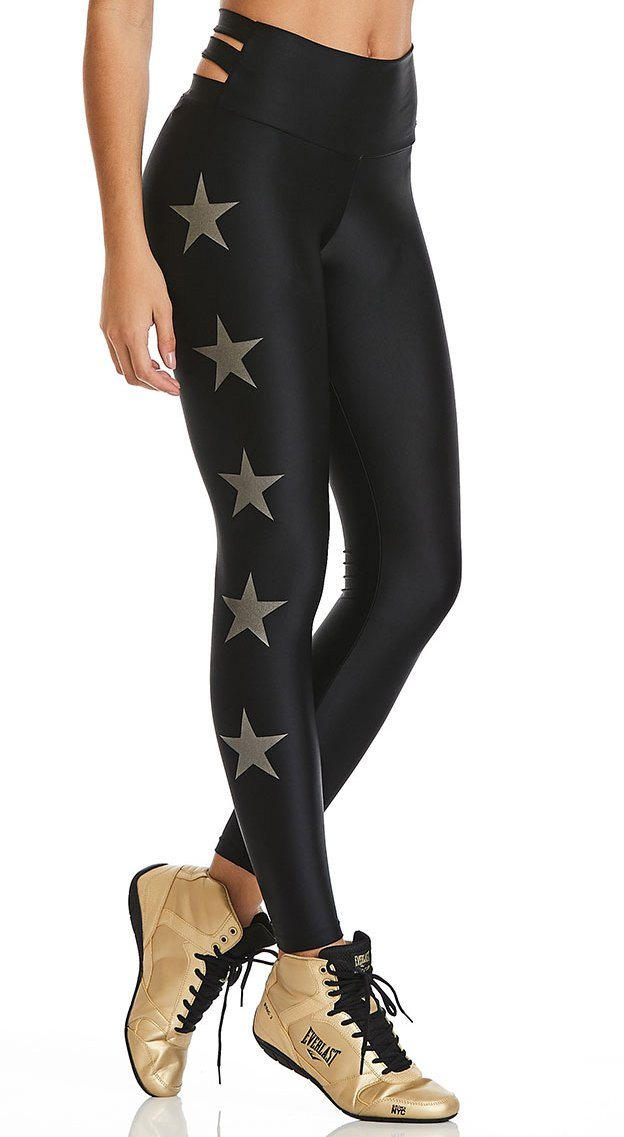 Brazilian Workout Legging - High Waist Stars Black