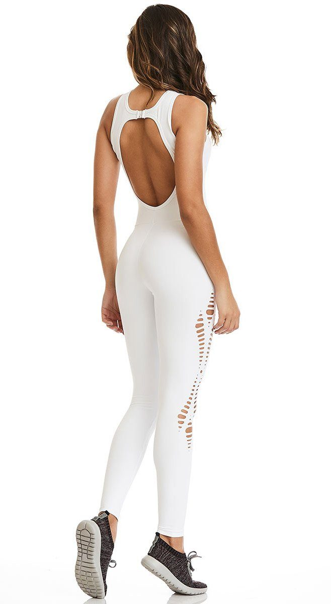 Brazilian Workout Jumpsuit - NZ New York Laser Cut White