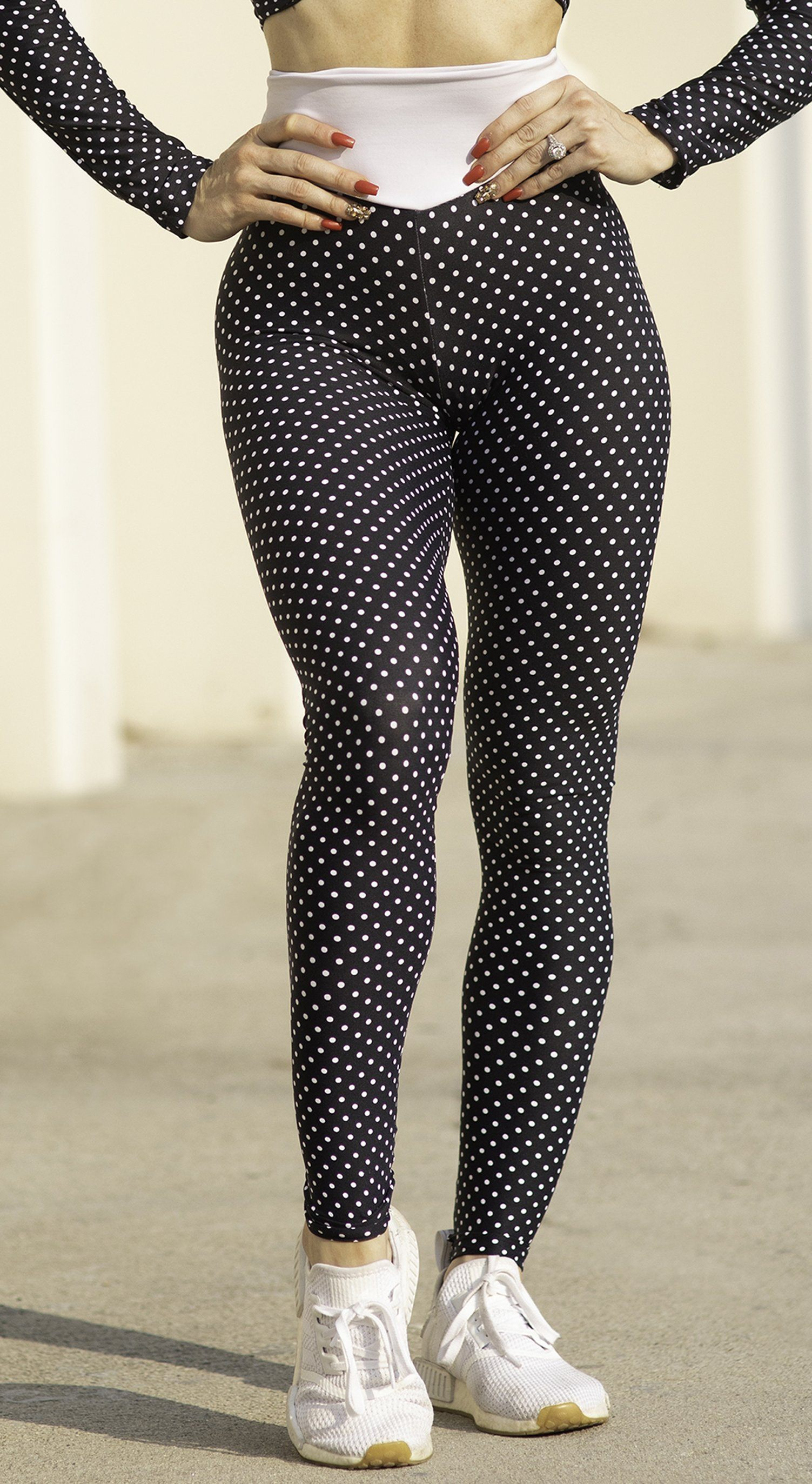 Brazilian Workout Legging - High Waist Scrunch Booty Lift! Polka Dots