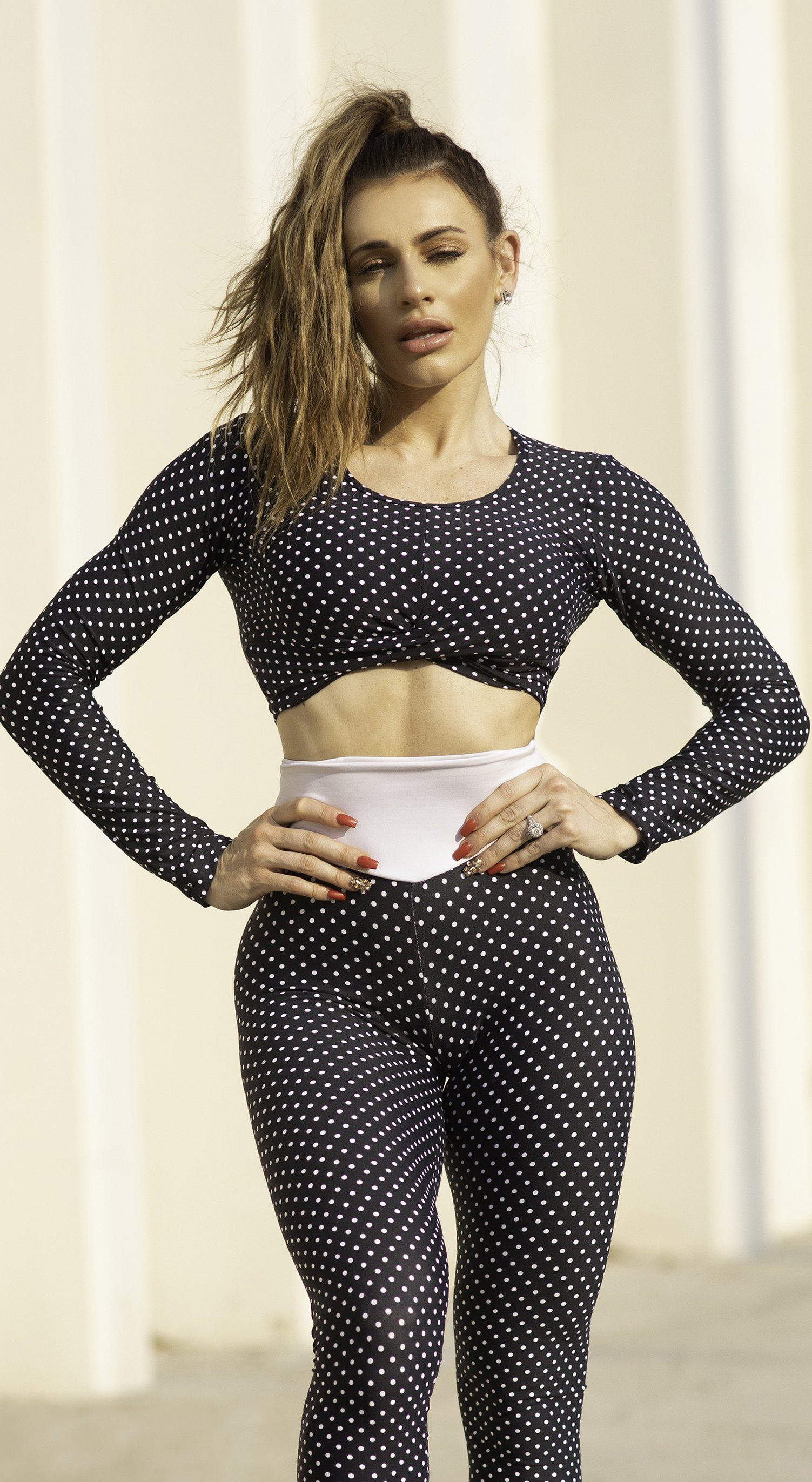 Brazilian Workout Top - Top Cropped Polka Dots Print