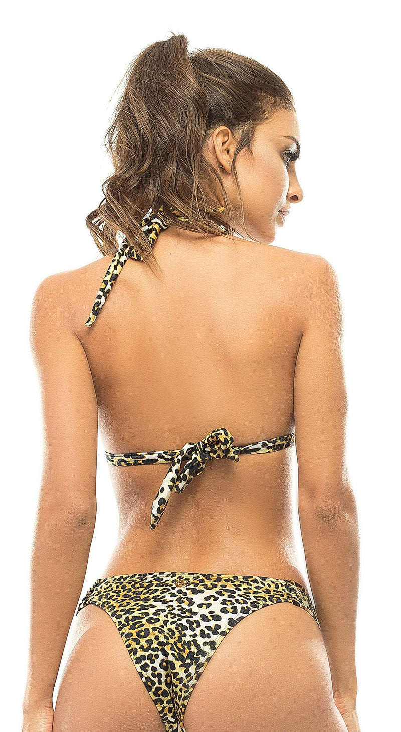 Brazilian Bikini Top - Leopard Print Resort