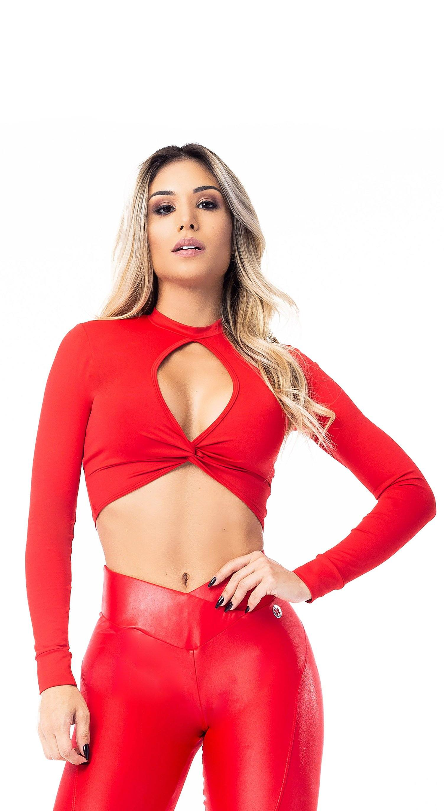 Long Sleeve Cropped Top Red