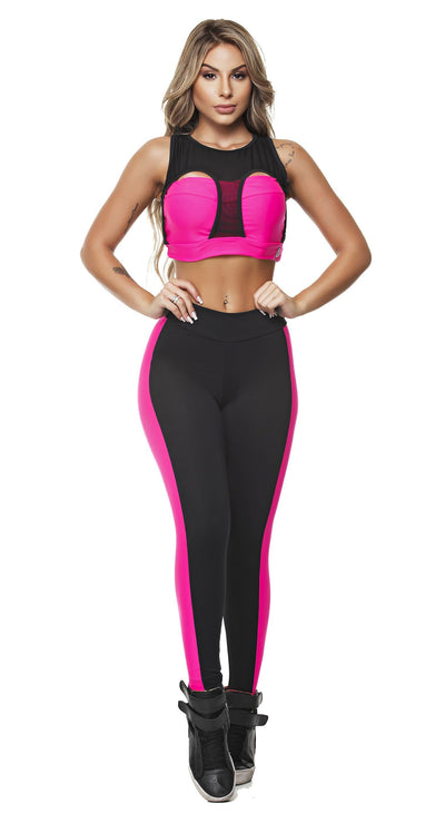 Brazilian Sports Top - Power Vibes Neon Pink