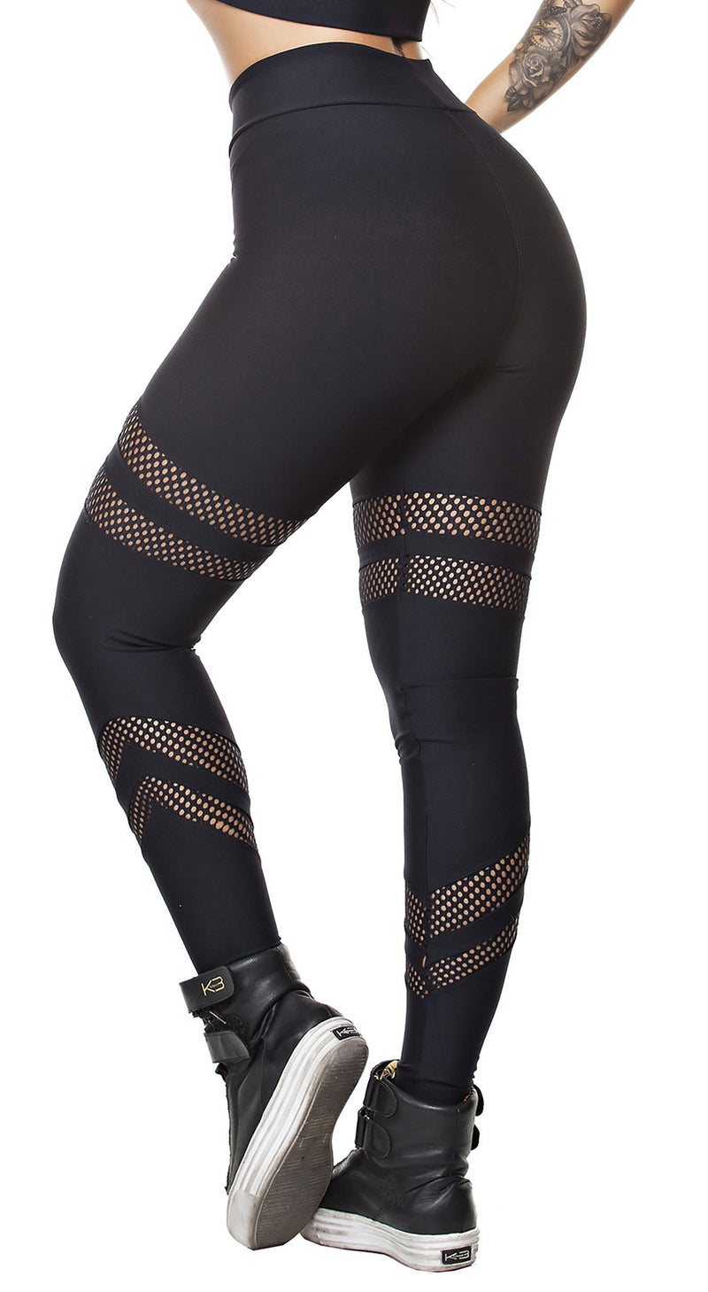 Workout Legging - Glam Socks Mesh Black
