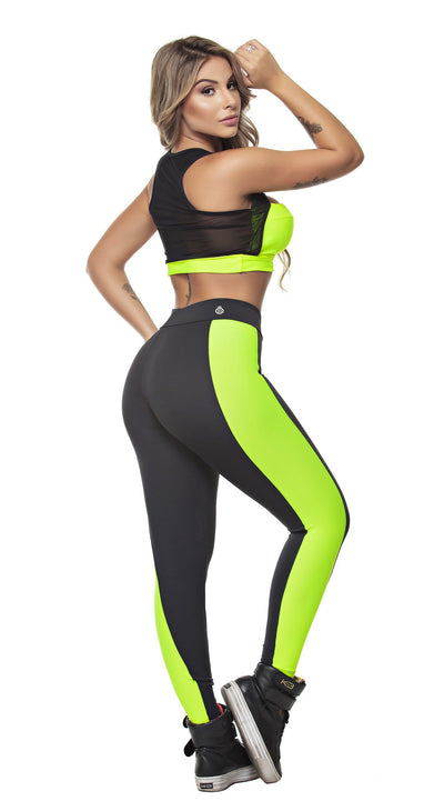 Brazilian Sports Top - Power Vibes Neon Yellow