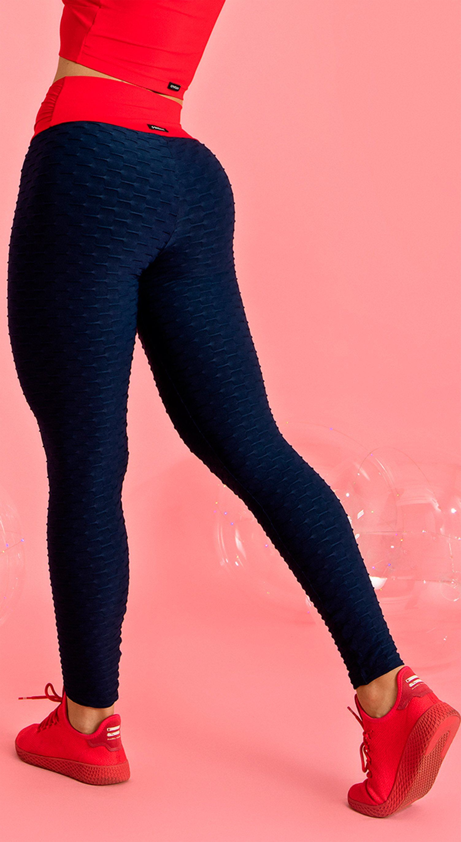 Anti Cellulite - Dream  Effect Legging - Navy & Red