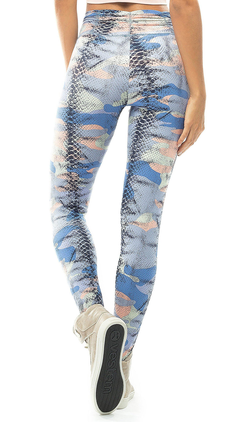 Brazilian Workout Legging -  Diva Camo Blue Printed