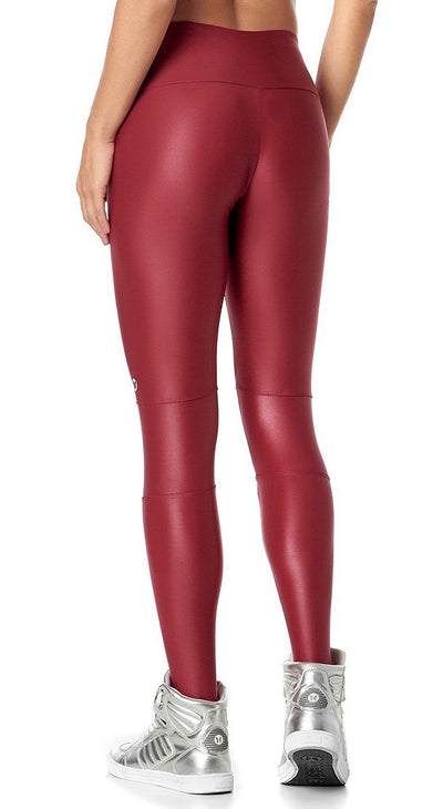 Brazilian Workout Legging - Gym Obsession Wet Look Red