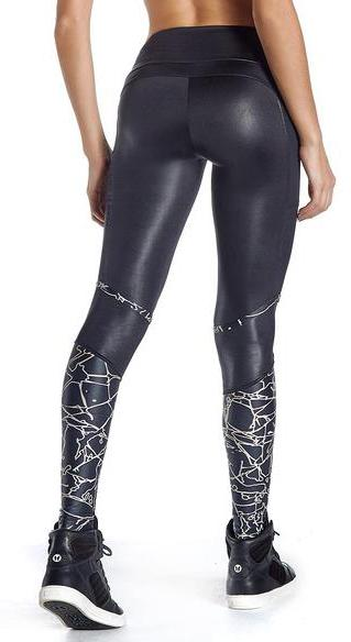 Brazilian Workout Legging - Gym Obsession Wet Look Black