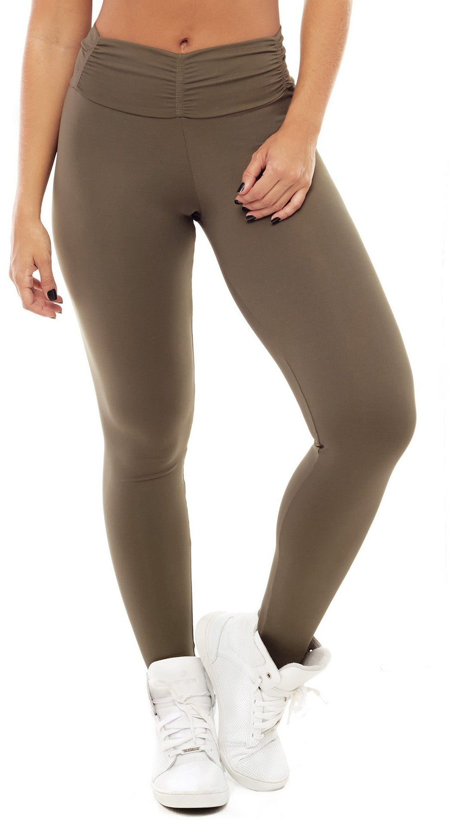 Brazilian Workout Legging - Booty Up Pockets Army Green