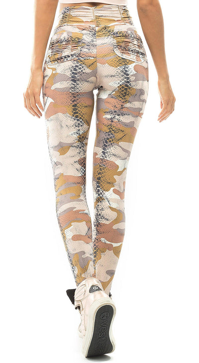 Brazilian Workout Legging - Booty Up Pockets Camo Beige