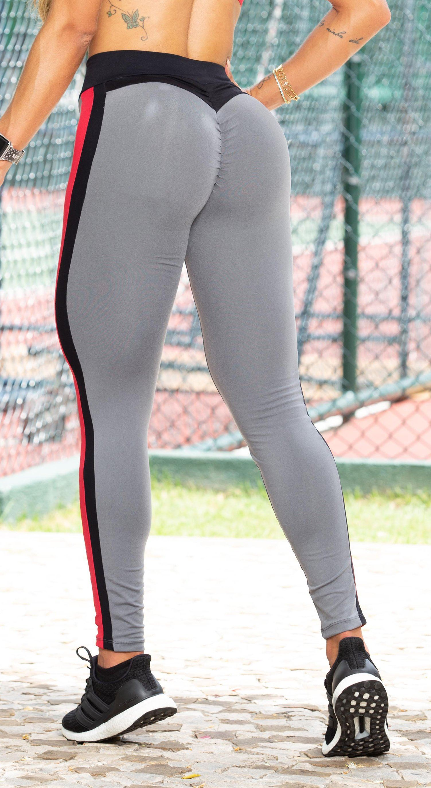 Scrunch Booty Grey & Red/Black Side Stripes