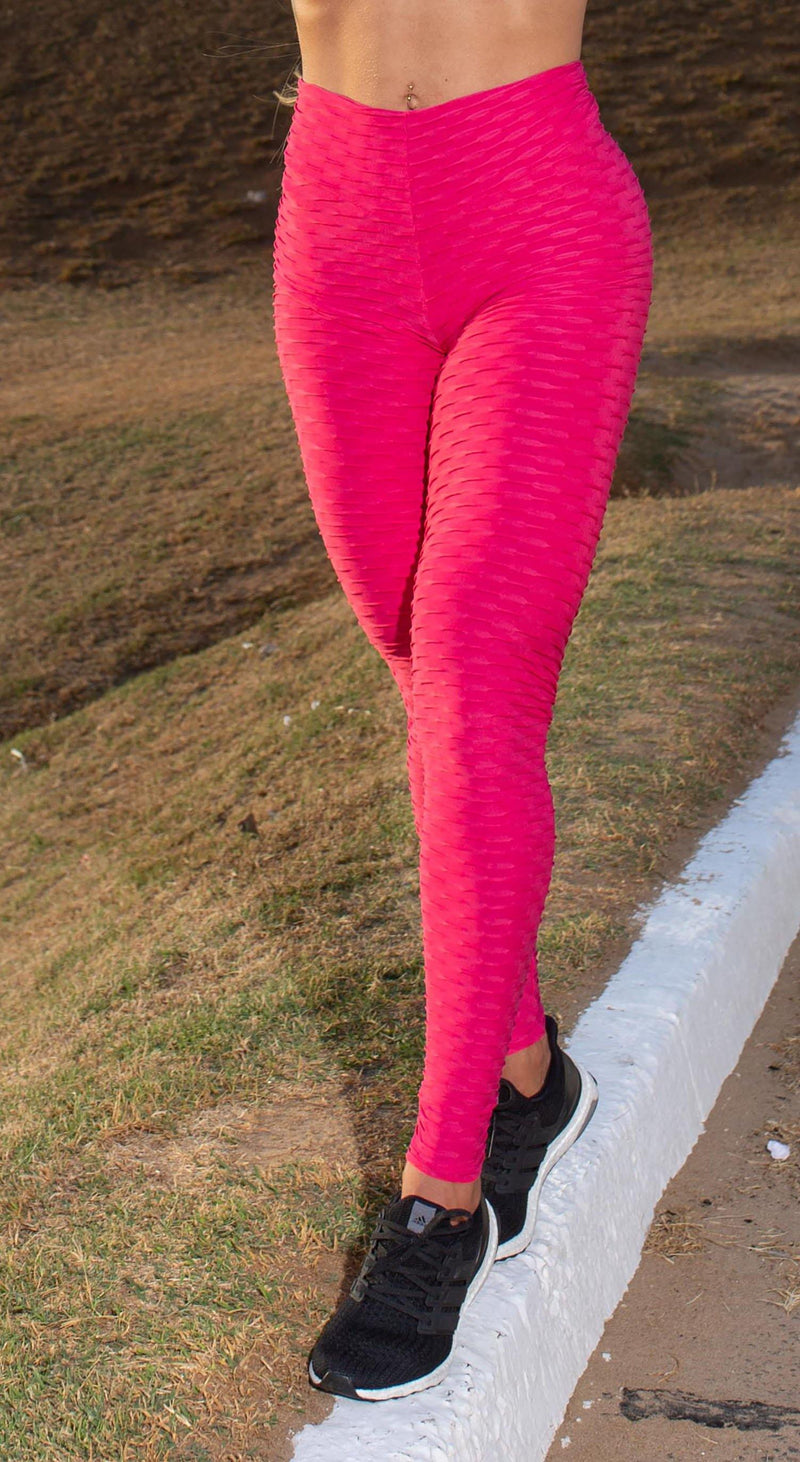 Anti Cellulite Honeycomb Textured Scrunch Booty Hot Pink Leggings