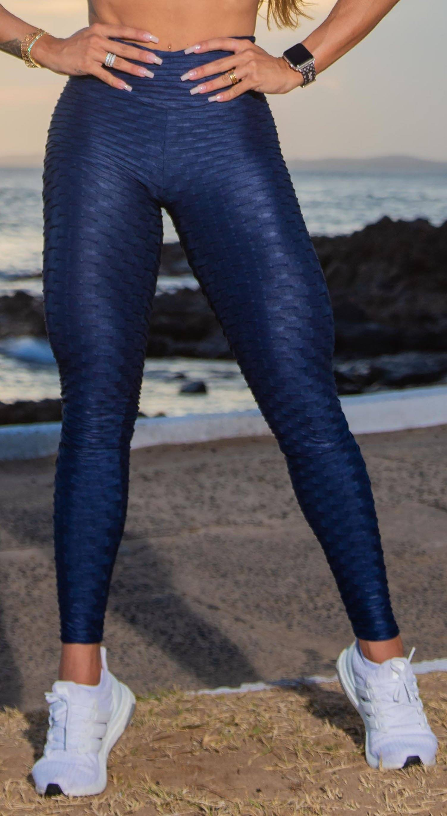 High Waist Anti Cellulite Textured Shiny Navy Leggings