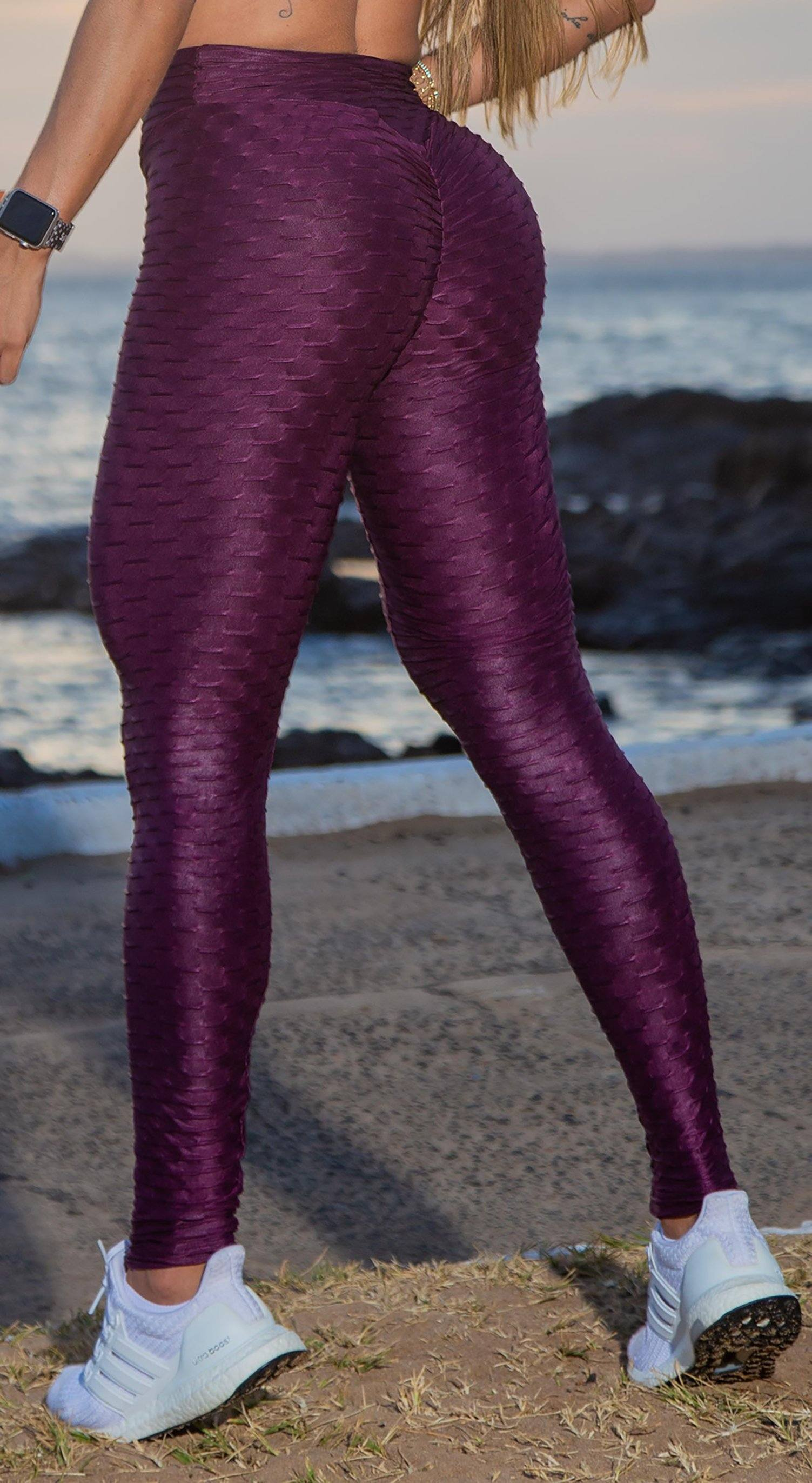 Brazilian Legging - High Waist Anti Cellulite Honeycomb Textured Scrunch Booty Shiny Purple