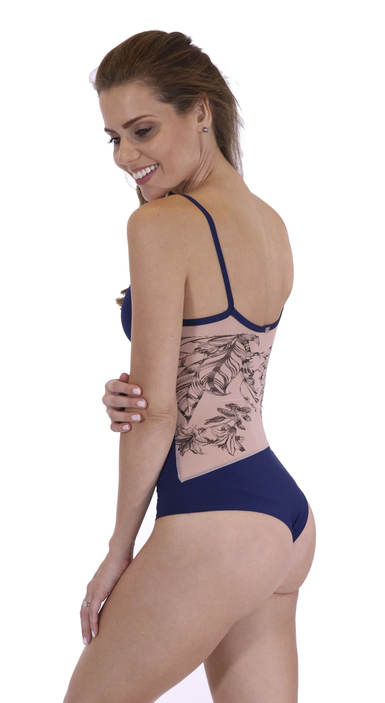 Workout Bodysuit -  Body Tattoo Navy Blue