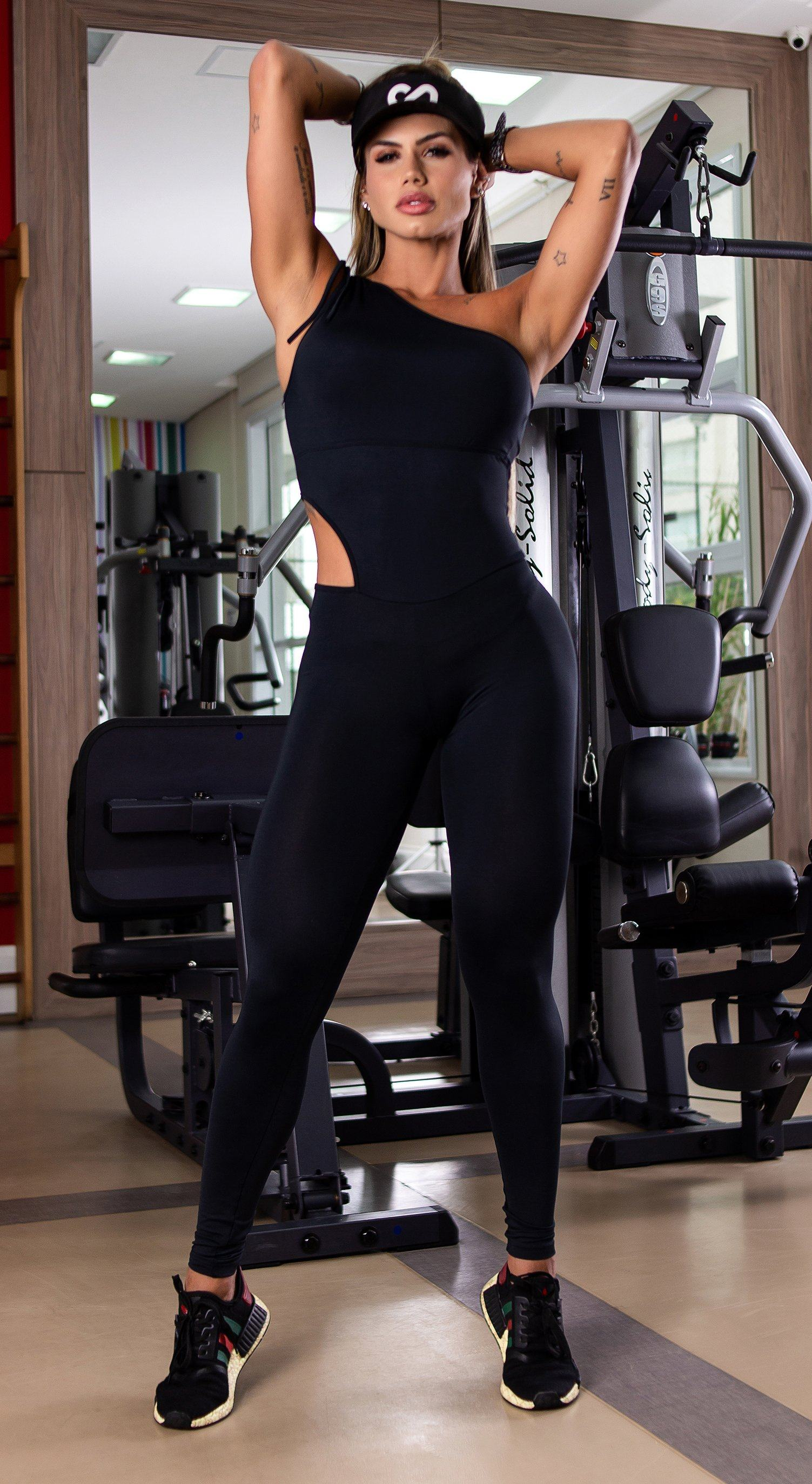 Brazilian Workout Jumpsuit - Scrunch Booty Lift! Adventure Bodysuit Black