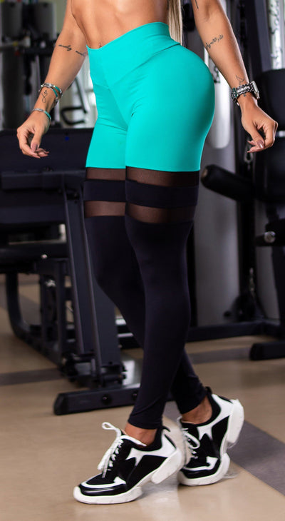 Brazilian Workout Legging - Scrunch Booty Socks Leggings Aquamarine & Black