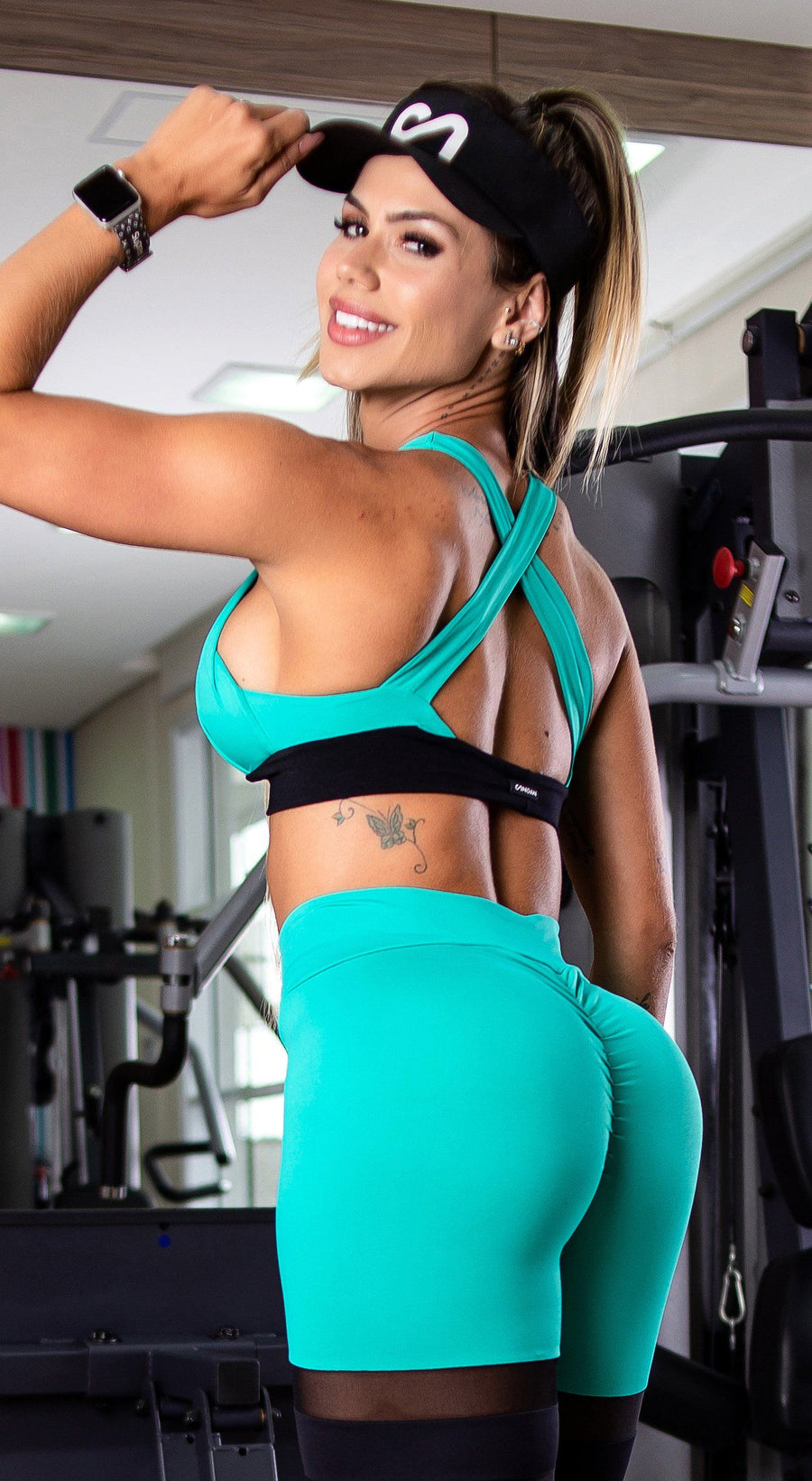 Brazilian Sports Bra - Padded Bra Aquamarine & Black
