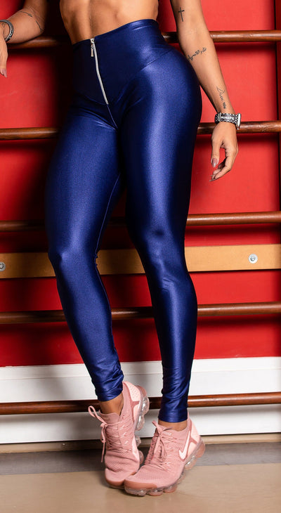 Brazilian Workout Legging - High Waist Scrunch Booty Latex Look Blue