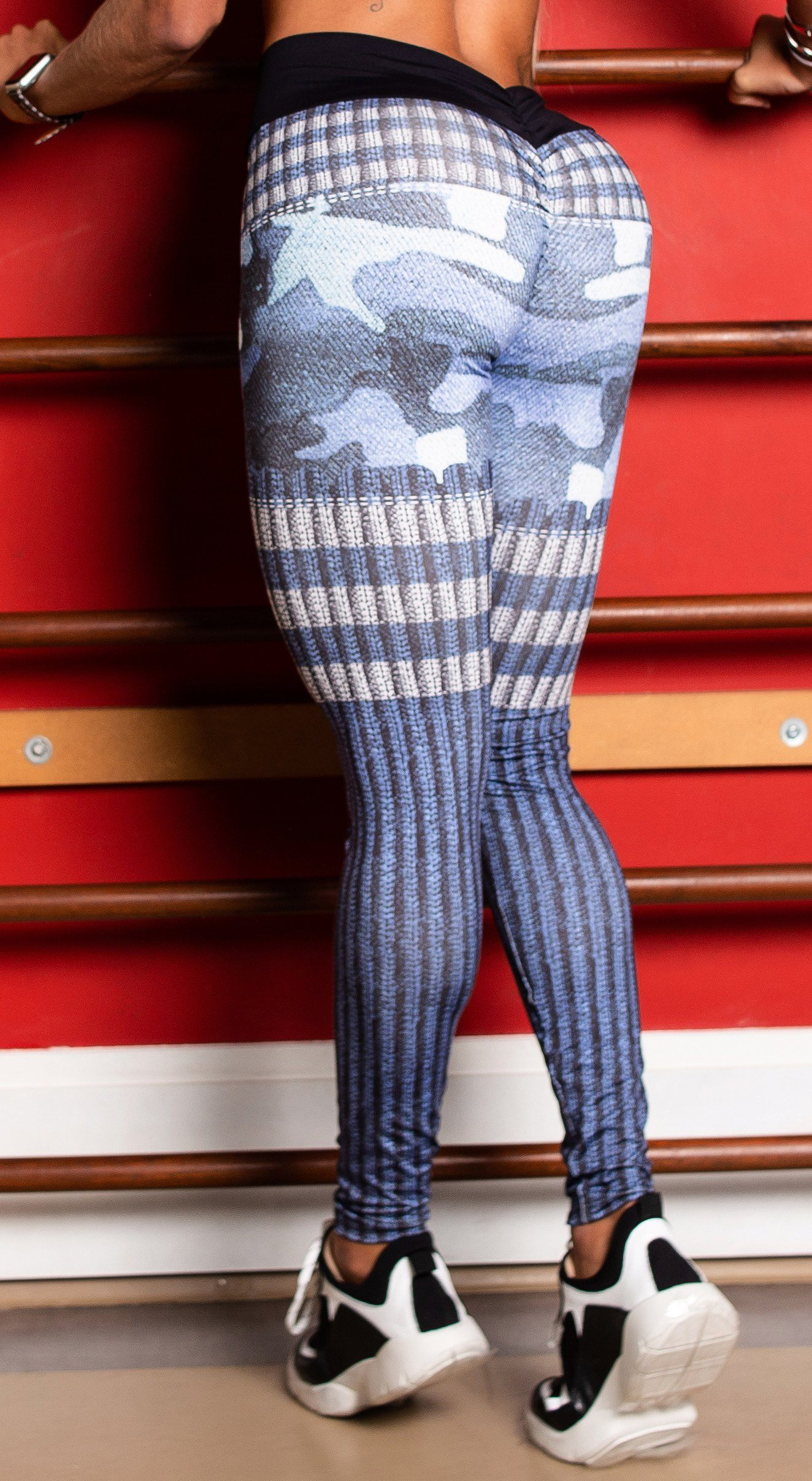 Scrunch Booty Up! 3D Army Blue Brazilian Fake Jeans Leggings