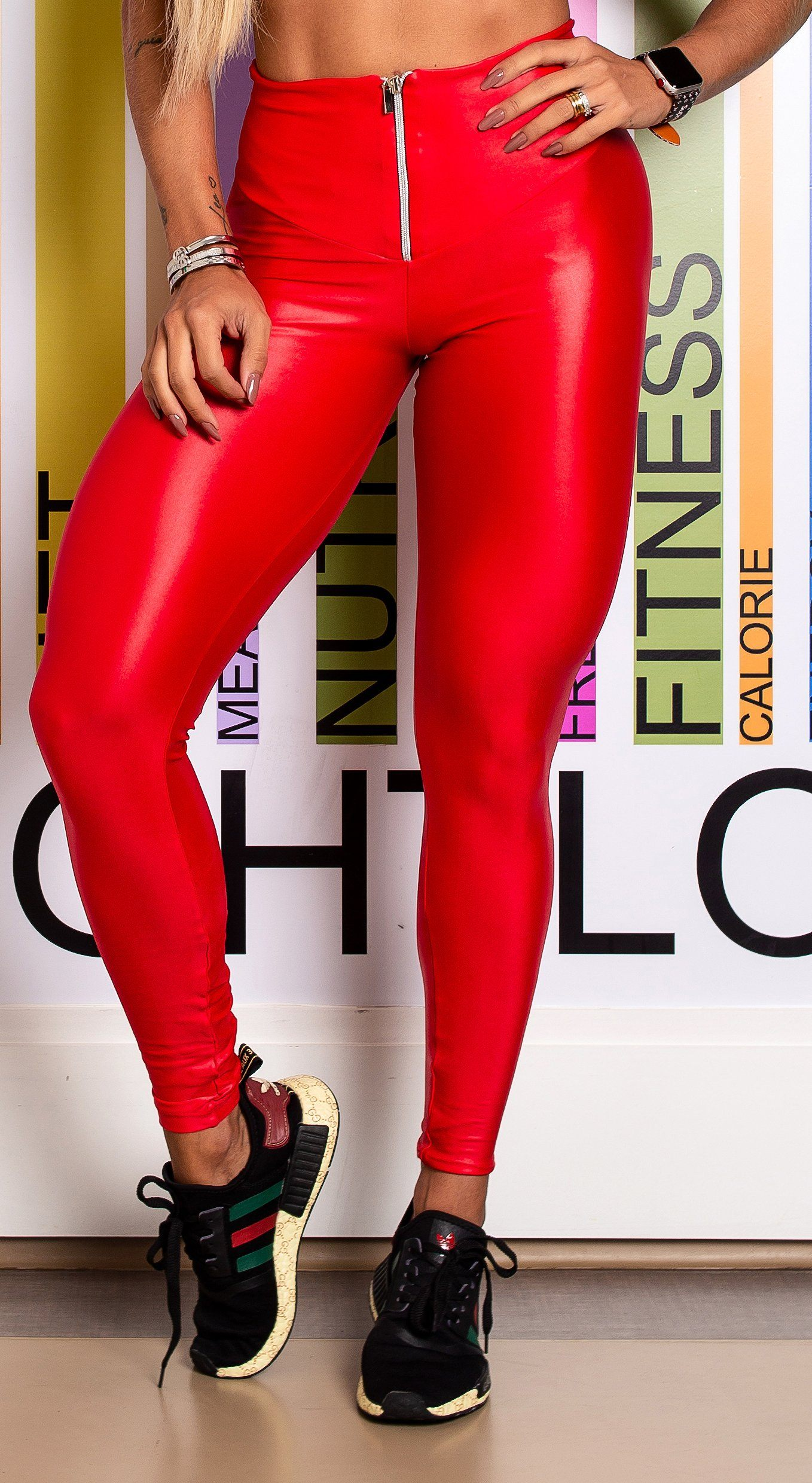 Brazilian Workout Legging - High Waist Scrunch Booty Latex Look Red