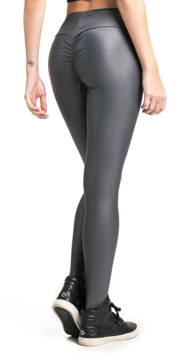 Brazilian Workout Legging - Ruched Booty Up Shiny Grey