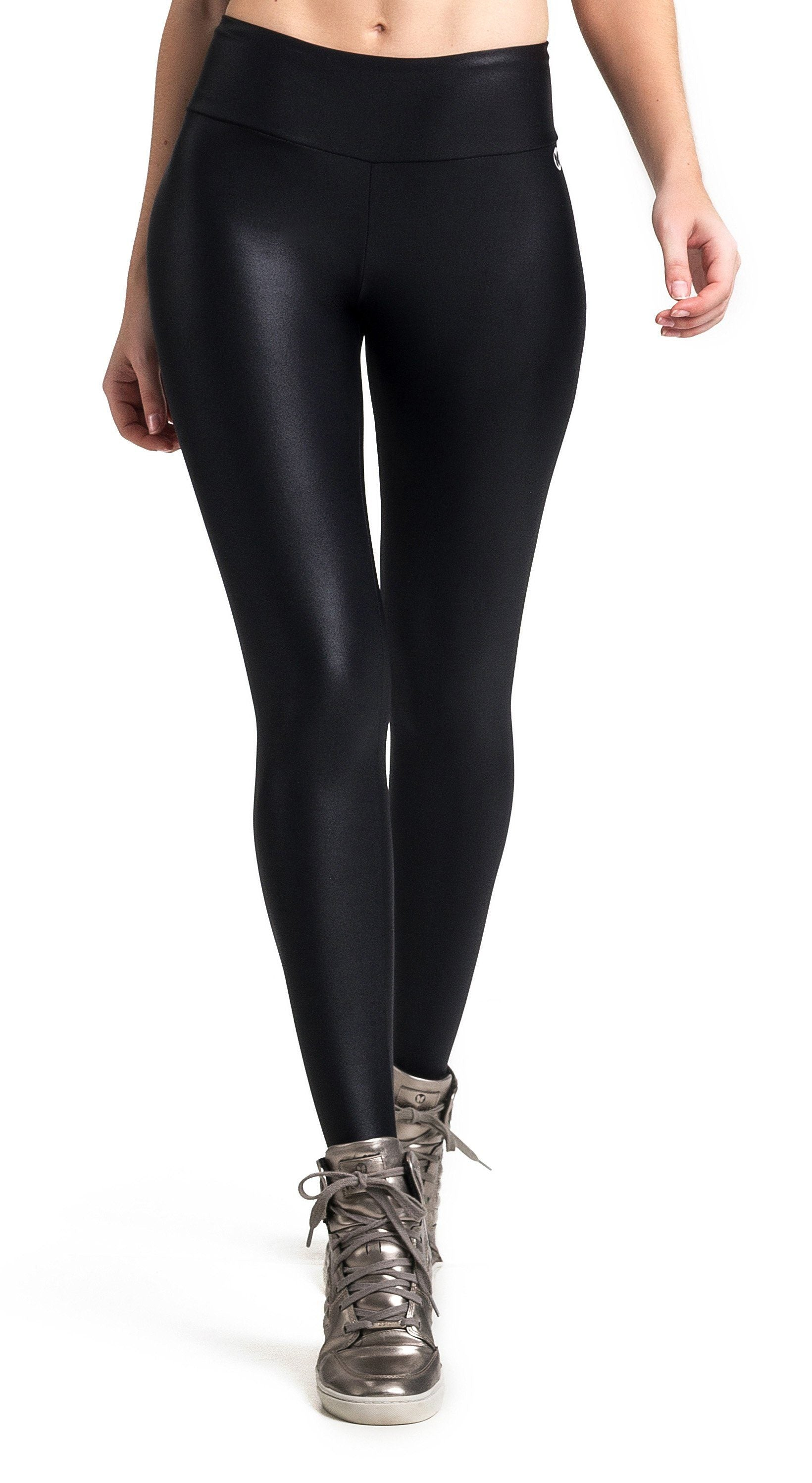 Brazilian Workout Legging - Ruched Booty Up Shiny Black - Top Rio Shop 5cebce644923