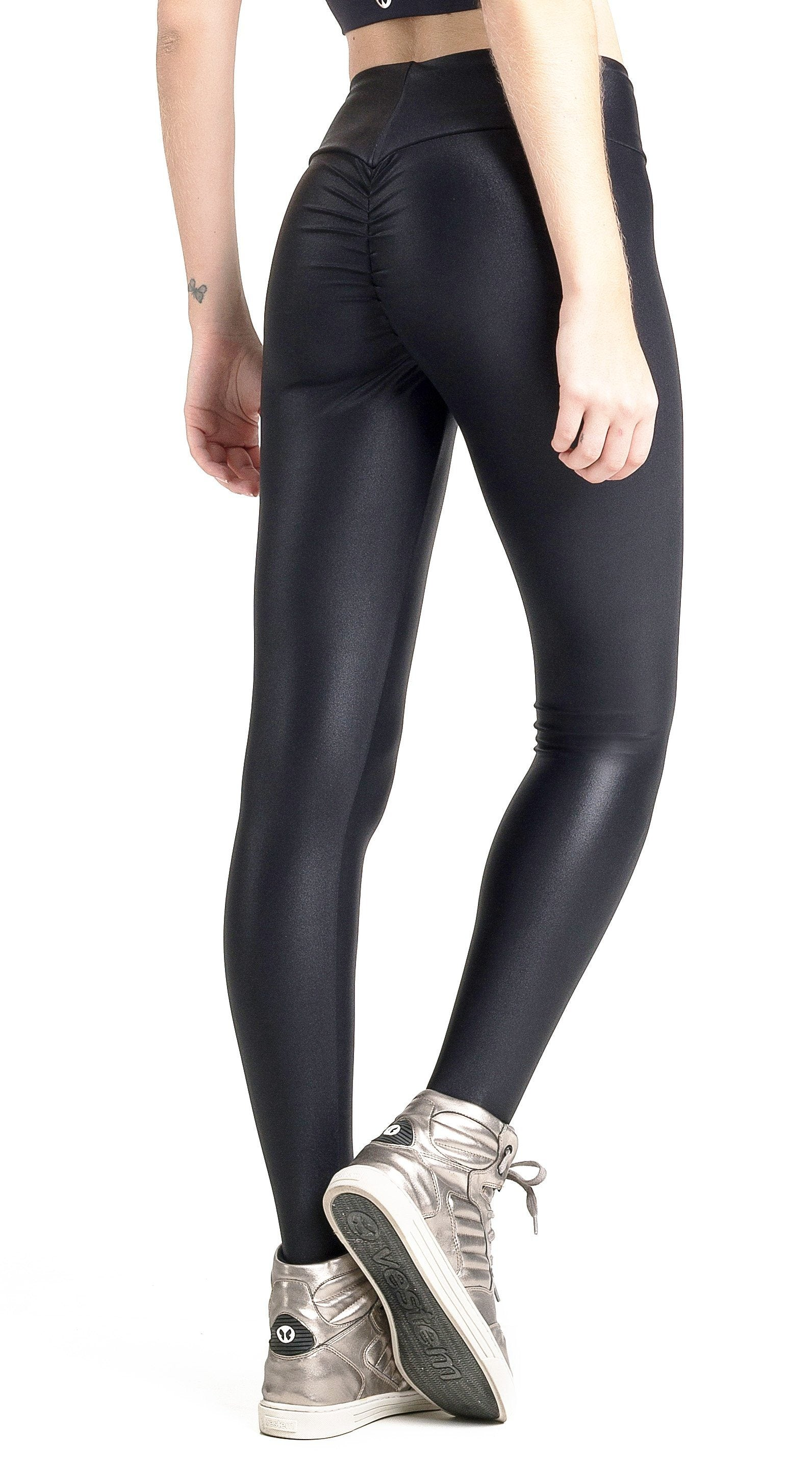 f6d0e78ab40a2 Brazilian Workout Legging | Ruched Booty Up Shiny Black | Top Rio Shop
