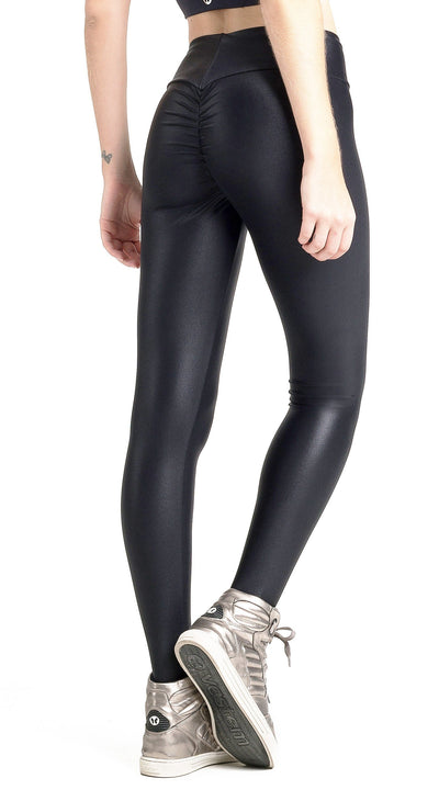 Brazilian Workout Legging - Ruched Booty Up Shiny Black