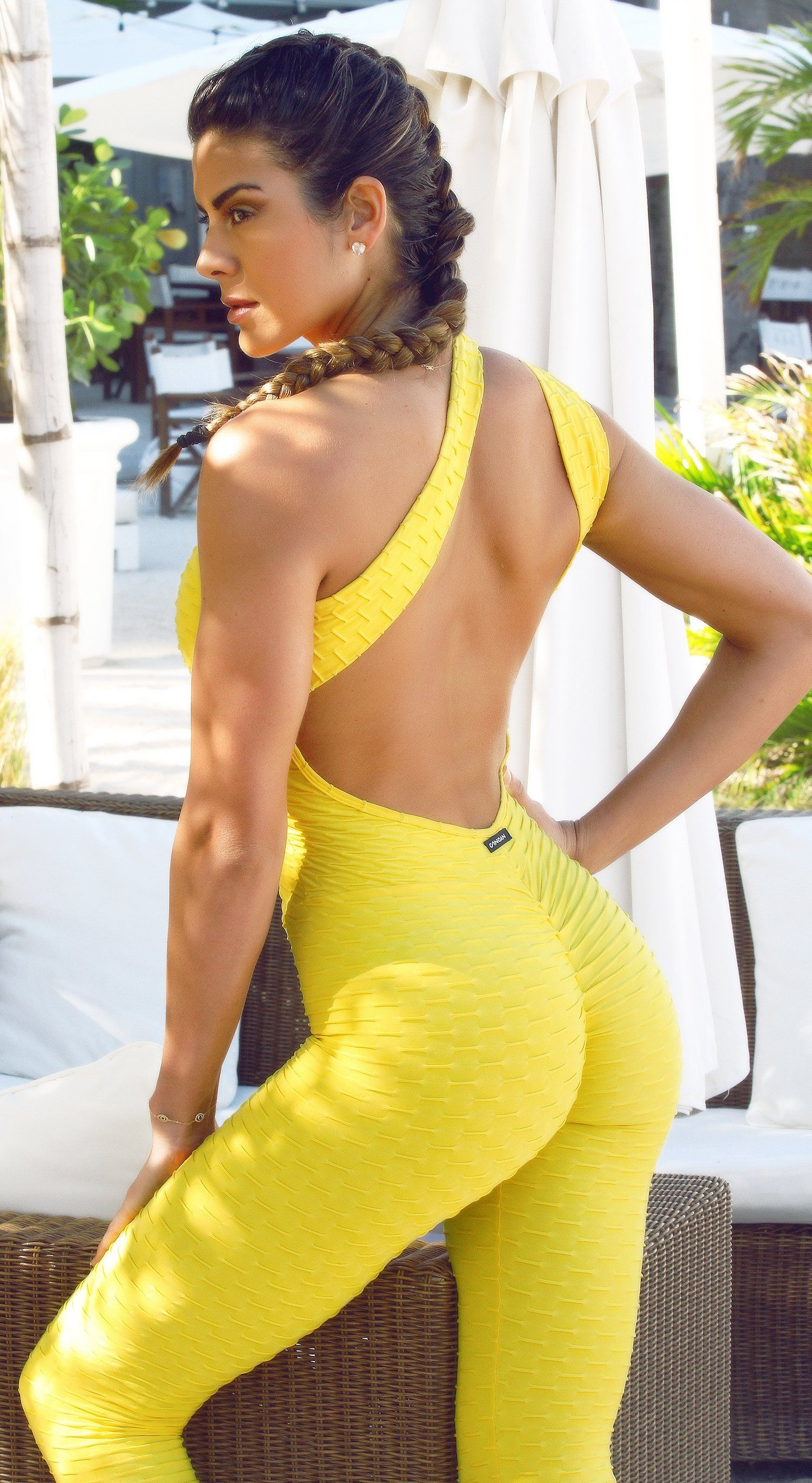 Fitness Jumpsuit - Honeycomb Scrunch Booty Yellow