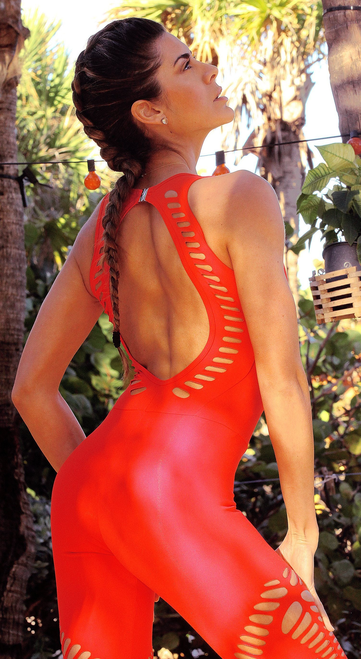Brazilian Workout Jumpsuit - Malibu Fitness NZ Laser Red