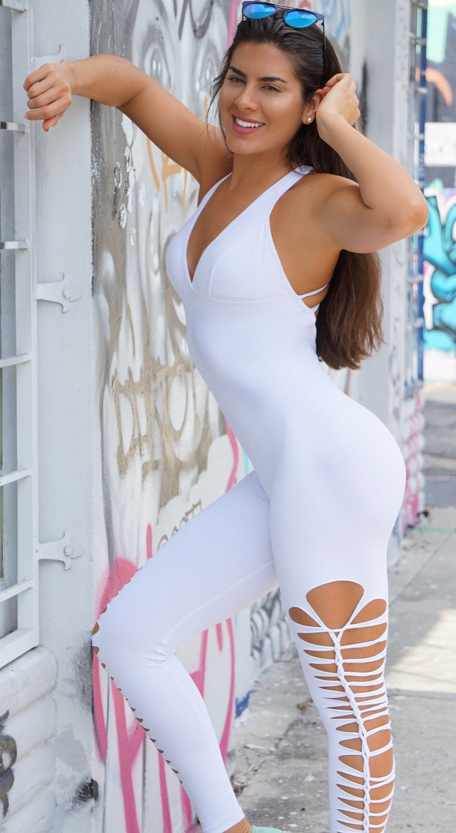 Brazilian Workout Jumpsuit - Braided  One piece White