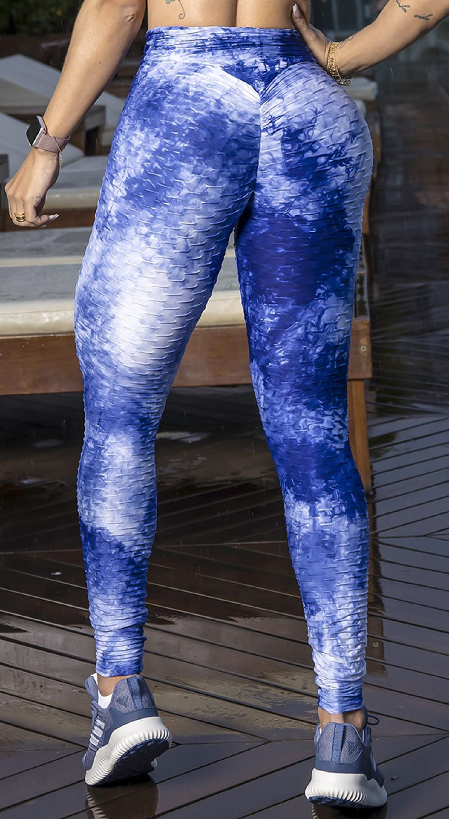Brazilian Legging - High Waist Anti Cellulite Textured Scrunch Booty Tie Dye Blue & White
