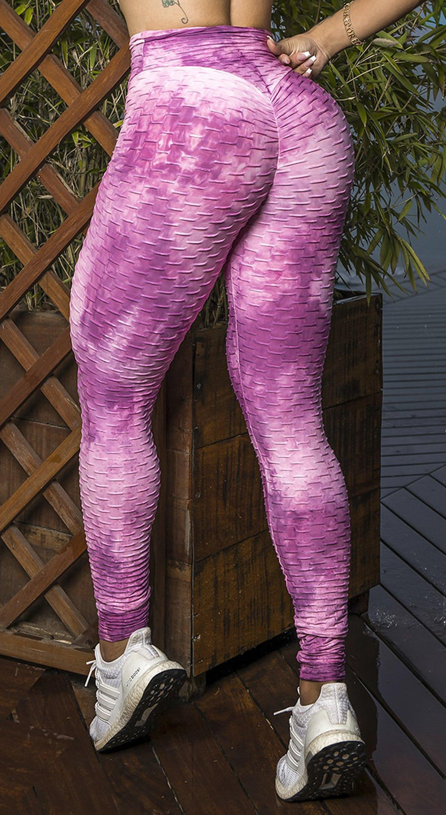 Brazilian Legging - High Waist Anti Cellulite Textured Scrunch Booty Tie Dye Pink & White