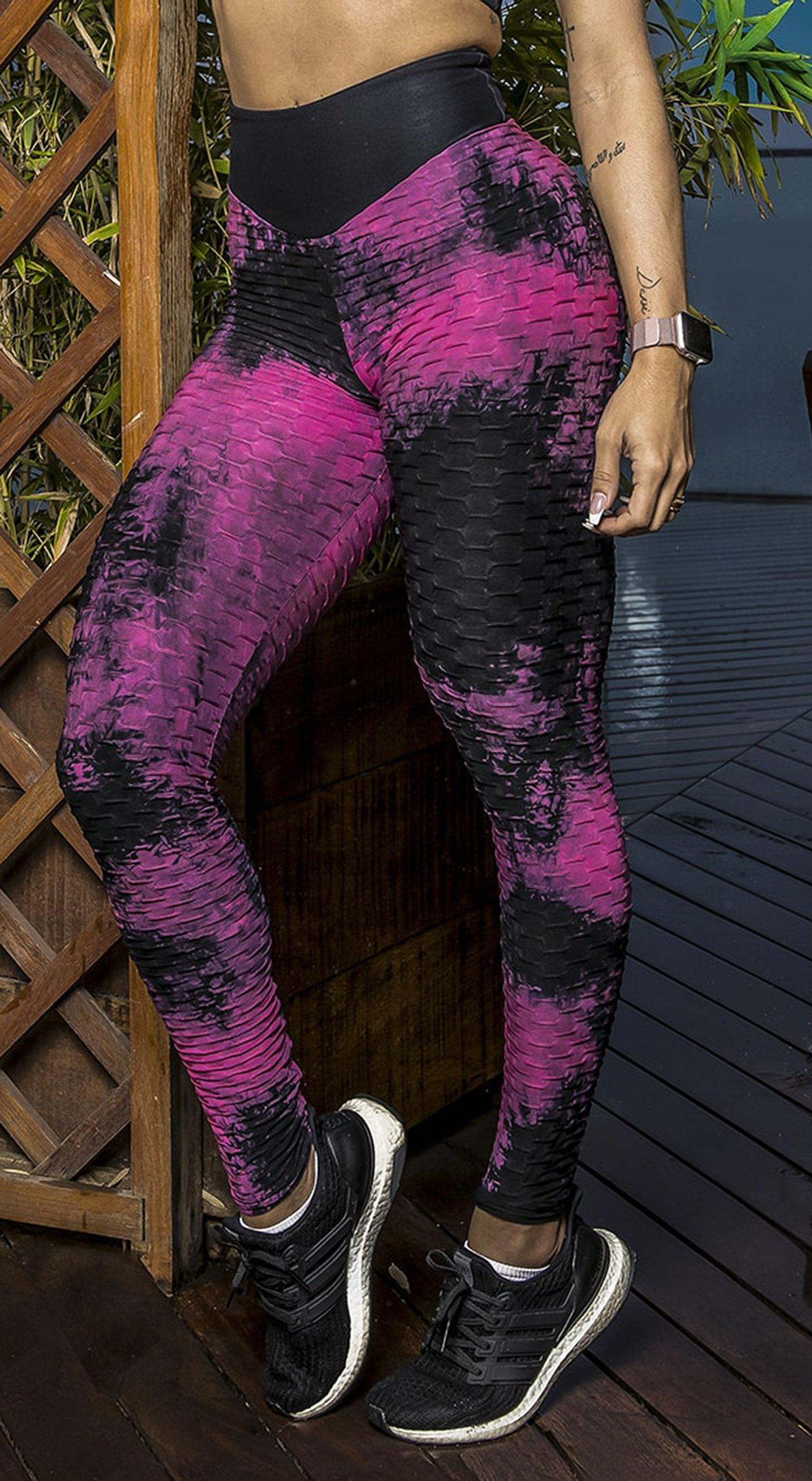 Brazilian Legging - High Waist Anti Cellulite Textured Scrunch Booty Tie Dye Pink & Black