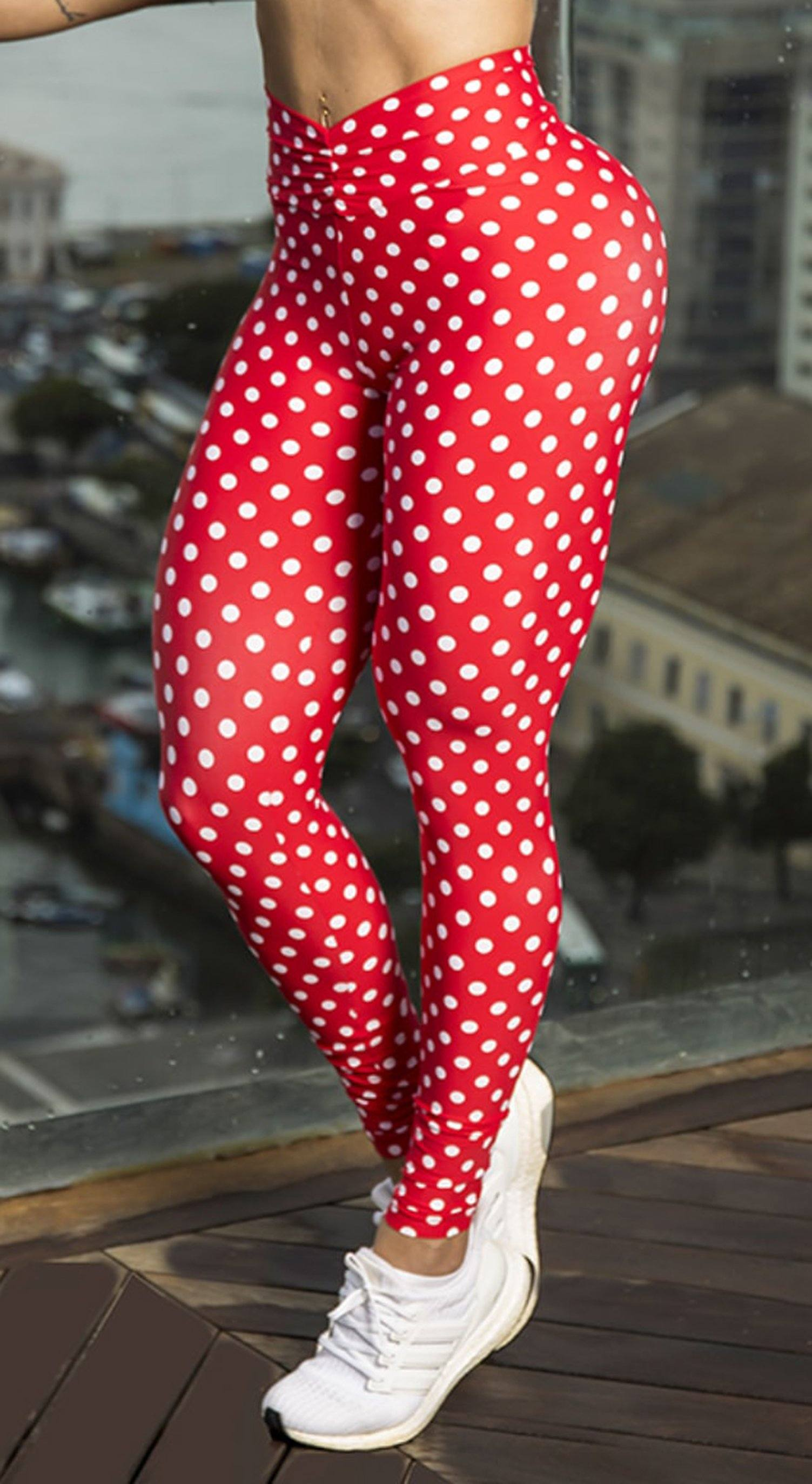 High Waist V Cut Scrunch Booty Leggings Polka Dots Red & White