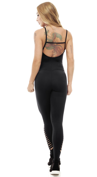 Brazilian Workout Jumpsuit - Straps Racerback Catsuit Black