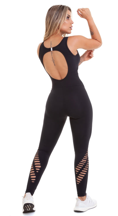 Brazilian Workout Jumpsuit - NZ Rio Laser Cut Black