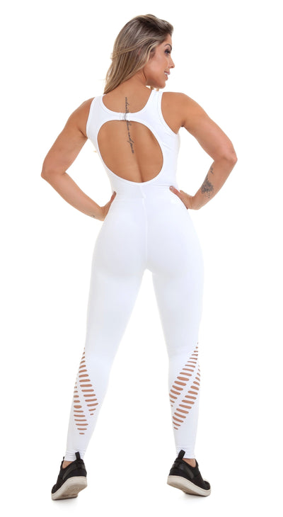 Brazilian Workout Jumpsuit - NZ Rio Laser Cut White