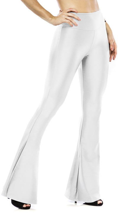 Flare Pants - Shiny Flare Bell Bottom Petram White